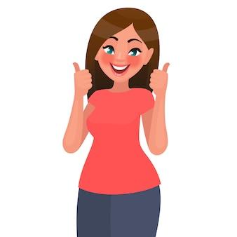 Mooie vrouw toont gebaar van goedkeuring. illustratie in vlakke stijl