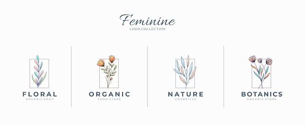 Mooie vrouwelijke botanische logo's met handgetekende bloemen