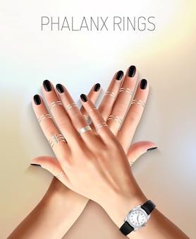 Mooie vrouwelijke handen met modieuze sieraden zilveren falanx ringen en horloge realistische vectorillustratie