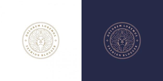 Mooie vrouwelijke lijn gezicht met fladderende haren vector logo embleem ontwerp sjabloon illustratie