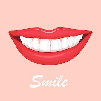 Mooie vrouwelijke lippen met witte tanden. glimlach