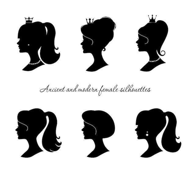 Mooie vrouwelijke silhouetten geplaatst die op wit worden geïsoleerd