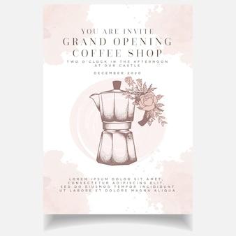 Mooie vrouwelijke vintage coffeeshop grand opening uitnodigingskaartsjabloon