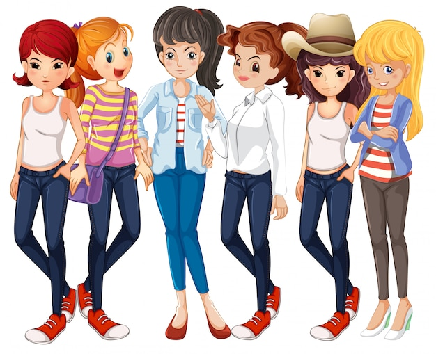Mooie vrouwen die jeans dragen