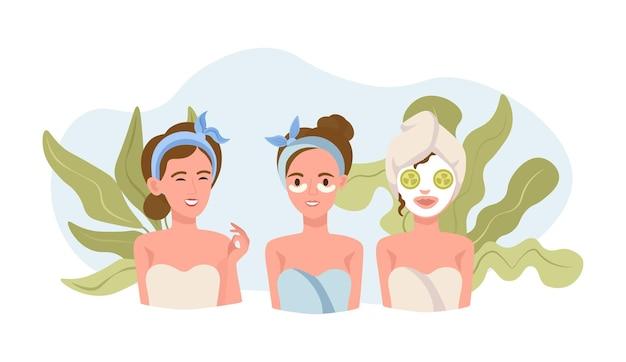 Mooie vrouwen die lichaams- en huidverzorgingsprocedures uitvoeren