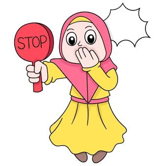 Mooie vrouwen die moslimhijabs dragen die stoptekens dragen, vectorillustratieart. doodle pictogram afbeelding kawaii.