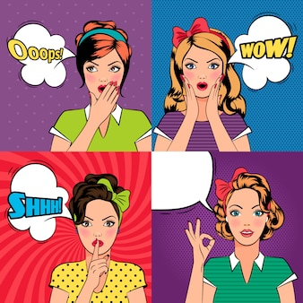 Mooie vrouwen in pop-artstijl