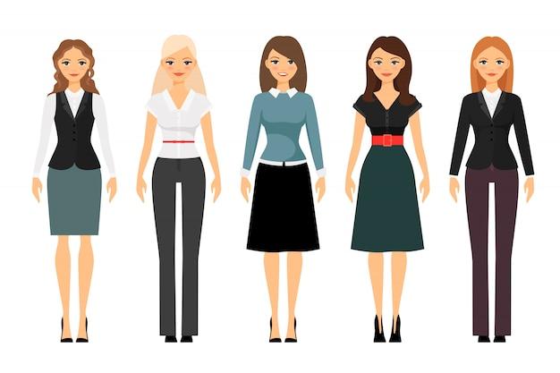 Mooie vrouwen in verschillende stijl kleding vector. vrouwen kleden code illustratie