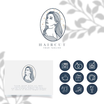 Mooie vrouwen minimalistisch logo bewerkbare sjabloon