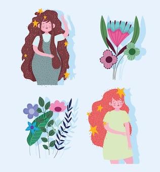 Mooie vrouwen stripfiguren met bloemen en bladeren instellen afbeelding