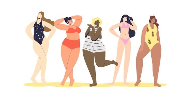 Mooie vrouwen van verschillende rassen en cijfertypes in geïsoleerde lingerie