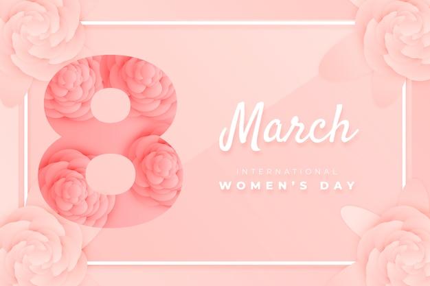 Mooie vrouwendag vertegenwoordiging in papierstijl met letters