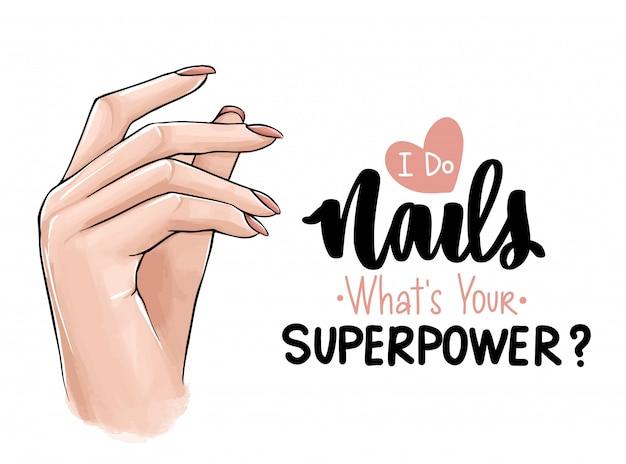Mooie vrouwenhanden met naakt nagellak.