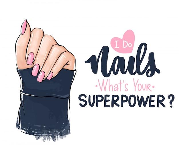 Mooie vrouwenhanden met roze nagellak. handgeschreven letters over nagels.