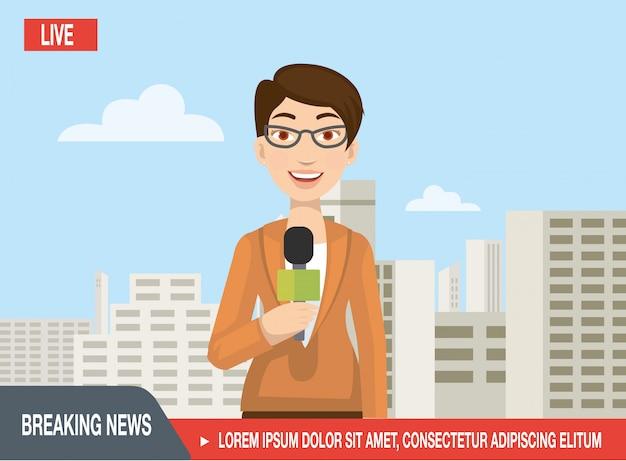 Mooie vrouwenjournalist kondigt het nieuws aan