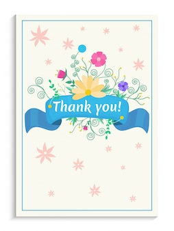 Mooie waterverf verfraaide bloemen en blauw lint. bedankt kaart ontwerp.