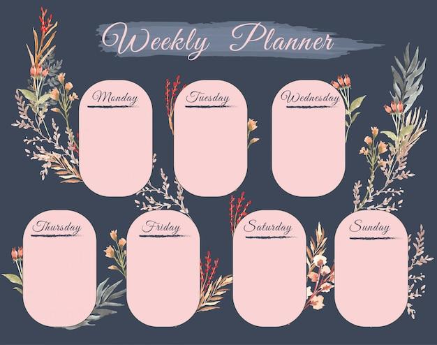 Mooie weekplanner met bloemenwaterverf