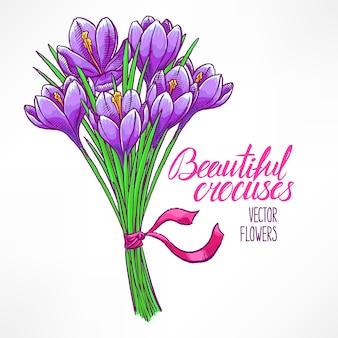 Mooie wenskaart met boeket van paarse krokussen