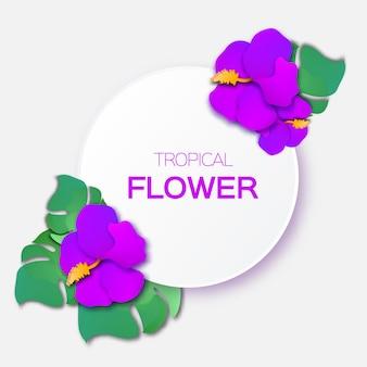 Mooie wenskaart met paarse tropische bloemen en cirkelframe.