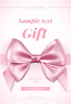 Mooie wenskaart met roze strik op wit