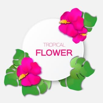 Mooie wenskaart met roze tropische bloemen en cirkelframe.