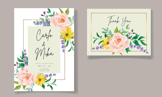 Mooie wilde bloemen bruiloft uitnodigingskaart
