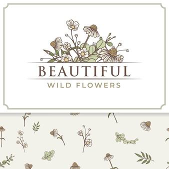 Mooie wilde bloemen logo label en patroon