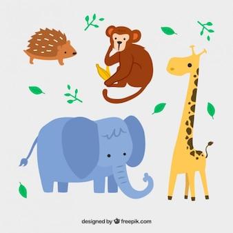 Mooie wilde dieren in kinderlijke stijl