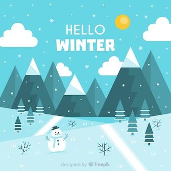 Mooie winter achtergrond met platte ontwerp