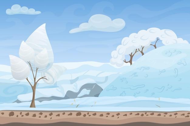 Mooie winter spel stijl platte landschap achtergrond. kerstbossen met heuvels en bergen.