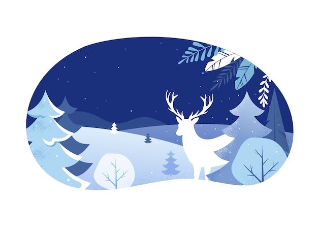 Mooie winterlandschap illustratie met wilde herten en bomen