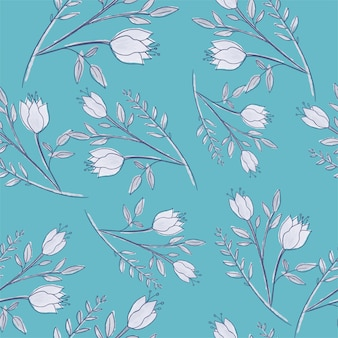 Mooie witte bloemen met blad naadloos patroon.