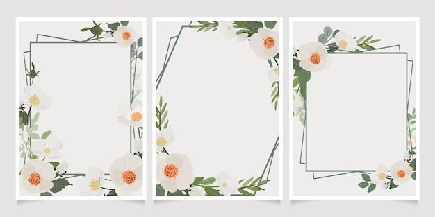 Mooie witte camellia krans frame uitnodigingskaart