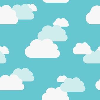 Mooie witte en blauwachtige wolken op licht turquoise blauwe lucht naadloos patroon. eps 8 vectorillustratie, geen transparantie