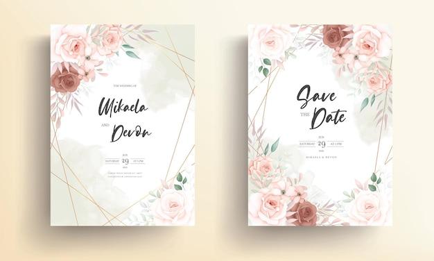 Mooie zachte bloemen bruiloft uitnodigingskaart met roos ornament