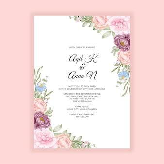 Mooie zachte bloemen en bladeren bruiloft uitnodiging illustratie Premium Vector