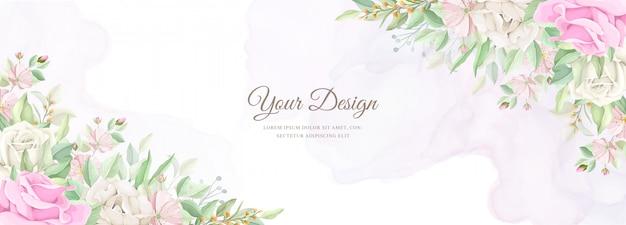 Mooie zachte bloemen en bladeren bruiloft uitnodigingskaartenset