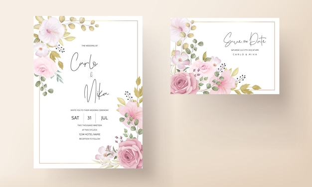 Mooie zachte hand getrokken bloemen bruiloft uitnodiging set