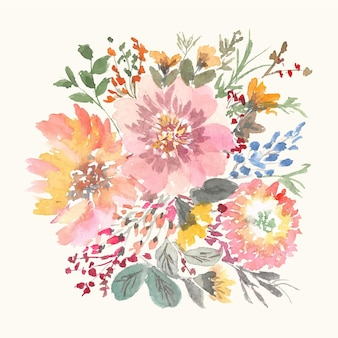 Mooie zachte kleurrijke bloemen aquarel hand schilderen