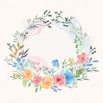 Mooie zachte kleurrijke bloemenwaterverfkroon met plonsschaduw