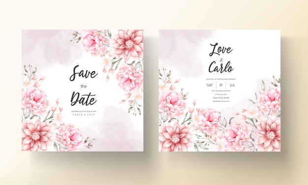 Mooie zachte perzik en bruine bloemenwaterverfhuwelijkskaart