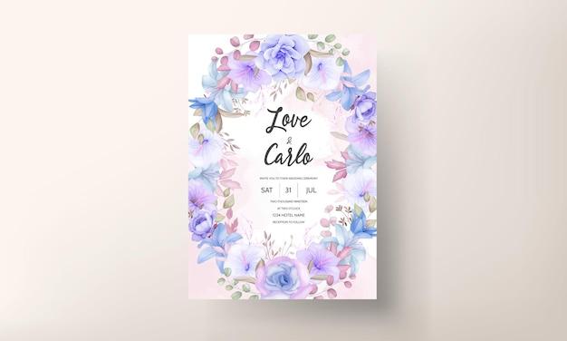 Mooie zachte roze en blauwe bloemen bruiloft uitnodigingskaart