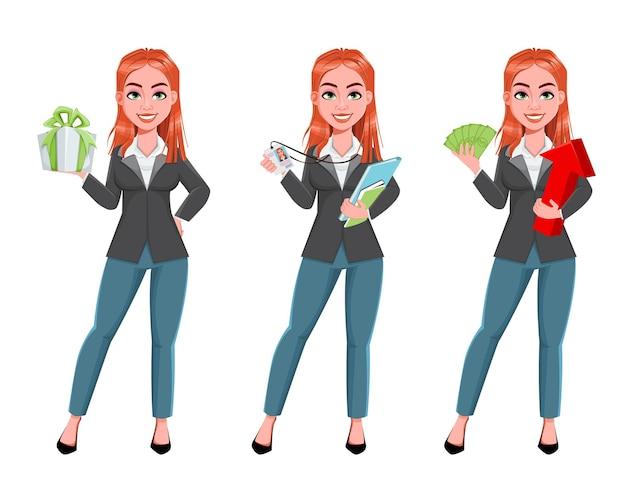 Mooie zakenvrouw, set van drie poses