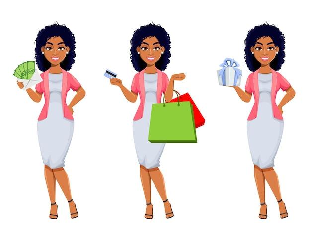 Mooie zakenvrouw stripfiguur gaan winkelen