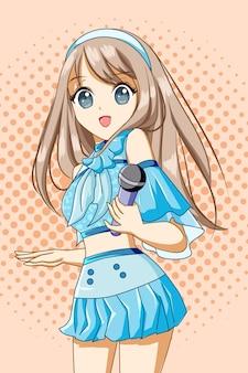 Mooie zangeres vrouw met blauwe jurk ontwerp karakter cartoon afbeelding