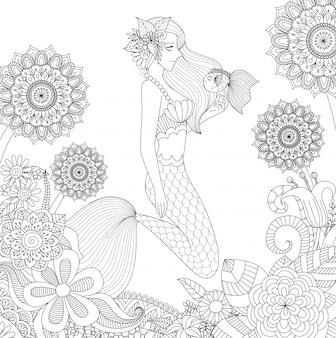 Mooie zeemeermin achtergrond ontwerp