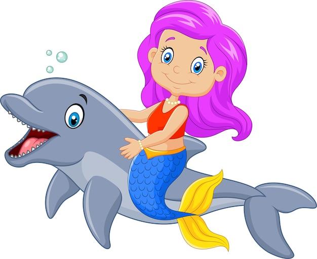 Mooie zeemeermin met dolfijn