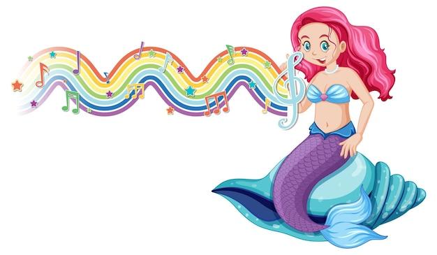 Mooie zeemeermin met melodiesymbolen op regenboog