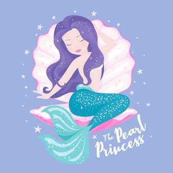 Mooie zeemeermin met schelp op lila