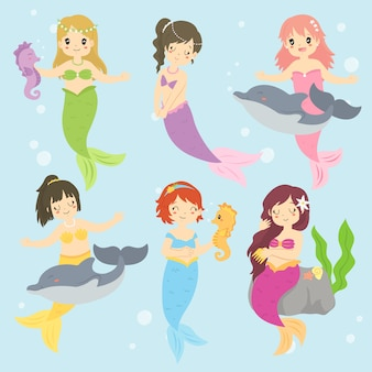 Mooie zeemeerminnen en zeedieren vector collectie